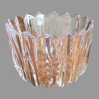 Vintage Orrefors heavy crystal fleur crown bowl vase signed