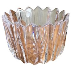 Vintage Orrefors heavy crystal fleur crown bowl vase signed