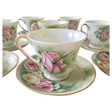 Vintage hand painted roses tea cups and saucers set of 8