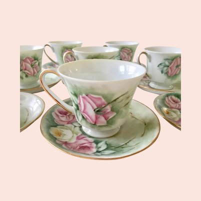 Vintage tea cups and saucers with pink hand painted roses set ot 8