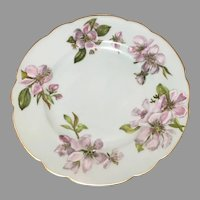 Vintage H & Co cherry blossoms floral salad dessert scallop edge plate 8.5''