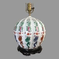Beautiful Early 20th Century Chinese Porcelain Table Lamp With Dragon Motif