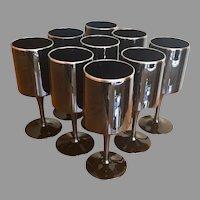 Lenox black crystal wine glasses with platinum trim set of 9