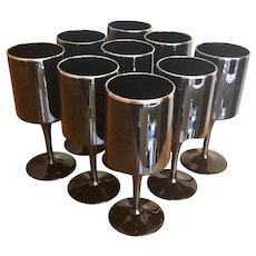 Lenox black crystal wine glasses with platinum trim set of 9