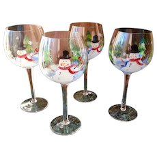Hand painted stemmed wine, water glasses with snowman, birds and pine trees, set of 4