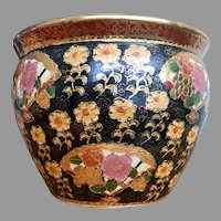Royal Satsuma fish bowl, planter, with gold flowers, fan, fish