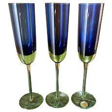Block cobalt blue, green stem champagne toasting fluted glasses set of 3
