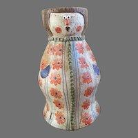 Lovely Italian Hand Painted Glazed Majolica Pottery Terra Cotta Vase, Planter, shape of women