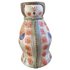 Lovely Italian Hand Painted Glazed Majolica Pottery Terra Cotta Vase, Planter, shape of women