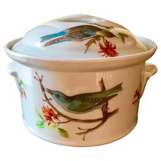 Louis Lourioux France covered casserole with bird motif, blue Jays, flowers, leaves