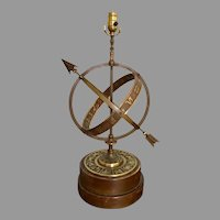 Armillary, astrological, zodiac, mid century bronze  table lamp by Frederick Cooper