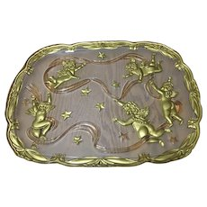 """Large glass serving tray with ribbons, cherubs and stars,  16.5""""x12.5"""""""