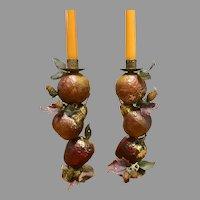 "Gold gilt fruit, apple, pear, grapes candlesticks, pair 10.5"" tall"