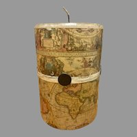 Old world map candle, gift, library art, made in Mexico