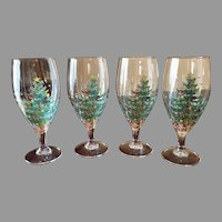 Christmas tree water, ice tea, beverage glasses, set of 4