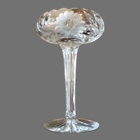 Gorgeous American Brilliant Period Cut Crystal Footed Bowl With Daisies