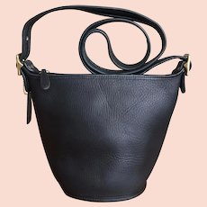 Authentic Coach vintage bucket, shoulder black leather bag