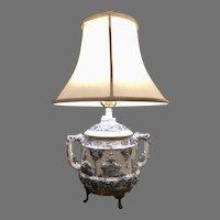 Vintage ceramic jar bronze base table lamp, white, blue