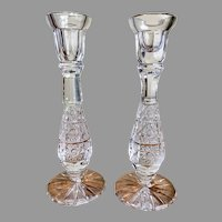 Pair gorgeous American Brilliant Period cut crystal candle holders, candlesticks, with hobstar