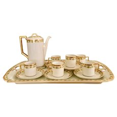 Heinrich &Co selb Bavaria early 1900's 22 karat gold encrusted demitasse espresso set, with grape leaf motif