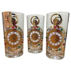 Culver Time is now jeweled clear glasses set of 3