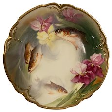 Broussillon signed PL Limoges France M. Redon hand painted floral, fish plate 9''