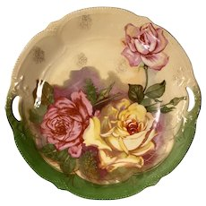 10'' floral cake plate, made and hand painted in Germany