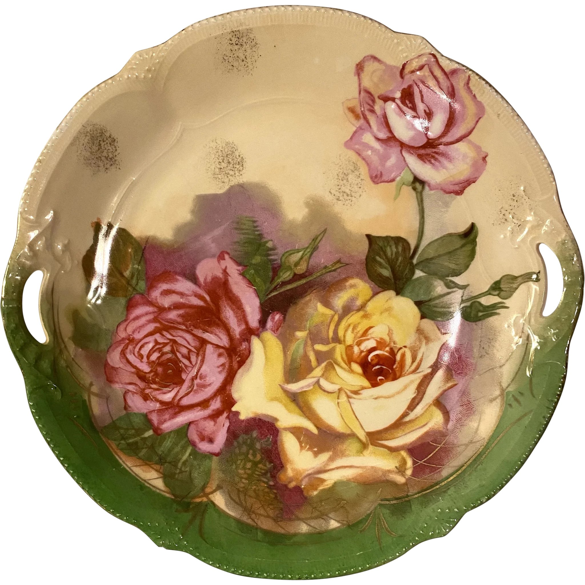 Beautiful Italian Hand Painted Floral Cake Plate
