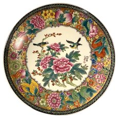 Chinese mille fleur family rose floral, fruit, Birds pattern wall hanging round plate 13''