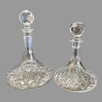 2  Galway Ireland crystal Longford ships decanters with stoppers