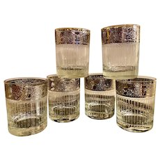 Culver Tyrol whiskey rock glasses with platinum trim, rain drops, set of 6