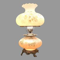 Stunning Large Double Globe  Accurate Cast Parlor, Hurricane, Three Way Switch Table Lamp 24''
