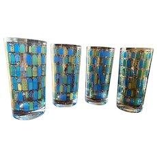 Culver highball glasses, blue, green, gold, yellow, windows, set of 4