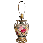 Nippon Moriage Amphora vase lamp with roses, Japan, late 19th century- early 20th century