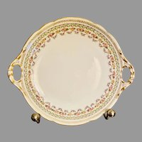 Limoges France J. Pouyat 11.5'' cake plate with roses