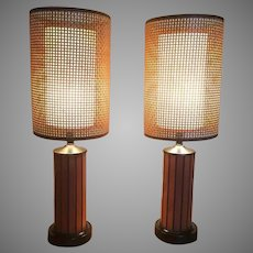 Pair Of Mid Century Danish Hans Wagner Teak Table Lamps With Original Rattan Shades