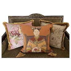 Yves Delorme Iosis Paris France tapestry,  floral, Asian, throw pillows set of 3