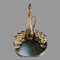 Bohemian Czechoslovakia Amber Gold liquor decanter with stopper and six cordial glasses