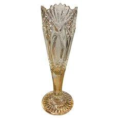American brilliant period cut glass trumpet vase 12''