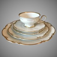 Hutschenreuther Selb Sylvia Brighton White With Gold Trim Place Setting For 8 Dinnerware 51 piece