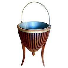 19th century antique English slatted mahogany, brass, tripod base wine cooler, plant stand.