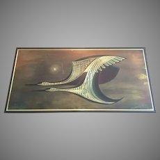 1982 Rudy Lechleiter Canada Wood Metal Art Flying Birds