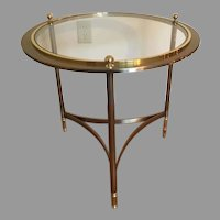 Design Institute Of America Mid Century Modern Brass Round Glass End Side Table