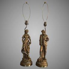 Pair Of French Provincial Figural Lamps La Grace De Dieu and Sans Famille