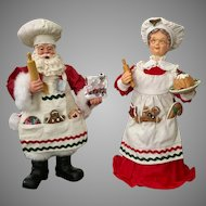 Beautiful Papier Mache Style Mr And Mrs Clause Christmas Figurines