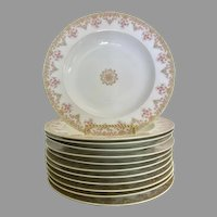 Limoges France rimmed soup bowls, green, pink flowers, set of 12