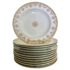 Limoges France rimmed soup bowls, green, pink flowers, set of 12