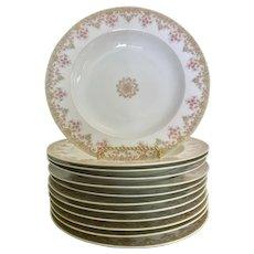 Lovely Limoges France rimmed soup bowls  set of 6