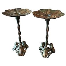 Gorgeous Rustic Pair Of Three Frogs Candle Holders