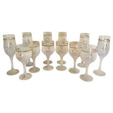 Set of 12 Creazioni Silvestri Arte Murano Italy frosted water wine champagne glasses with Cherubs